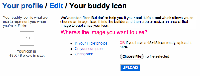 flickr profile buddy icon upload