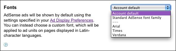 google adsense manage ads edit unit fonts
