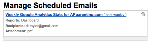 google analytics email manage scheduled emails (website stats)