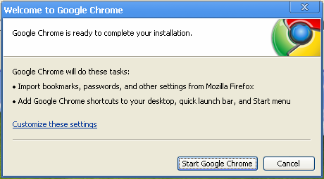 google chrome finish install