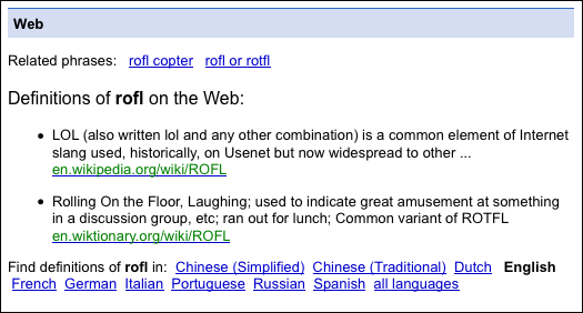 What 39 s the best place to define acronyms ask dave taylor for Rofl meaning in chat