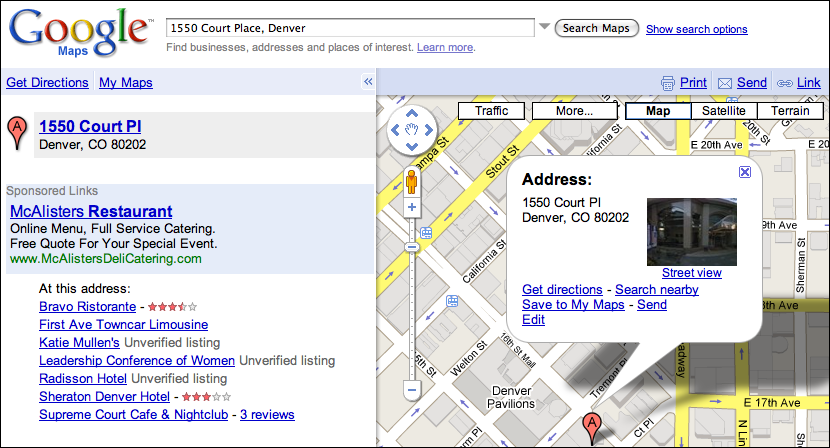 Go to Google Maps and type in that address. You'll see a map like this: