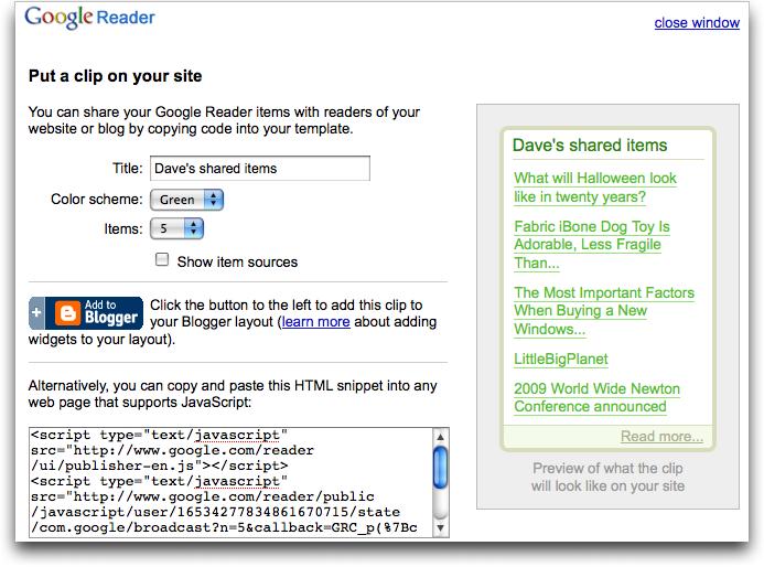 google reader put clip on site