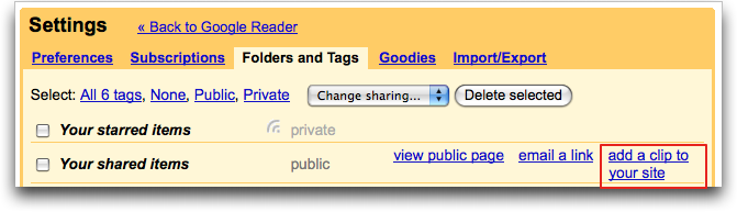 google reader settings folders tags