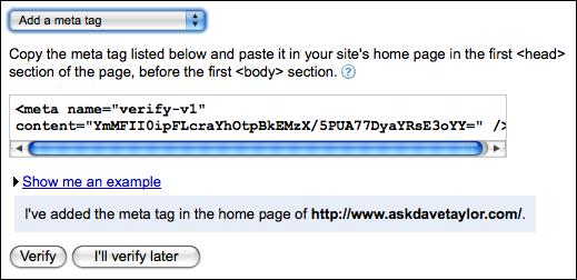 google webmaster tools verify meta