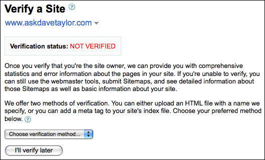 google webmaster tools verify