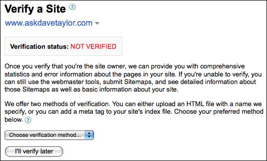 google webmaster tools verify