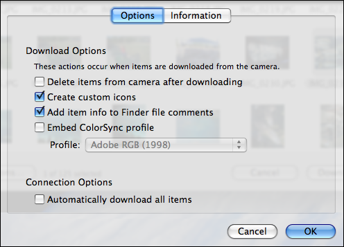 image capture iphone options