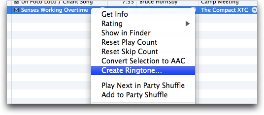 itunes create ringtone