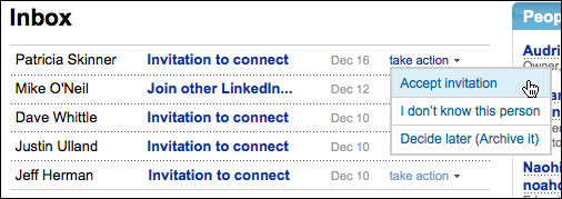 linkedin inbox invitations take action