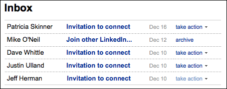 linkedin inbox invitations