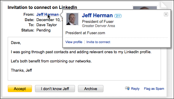 linkedin invitation jeff herman