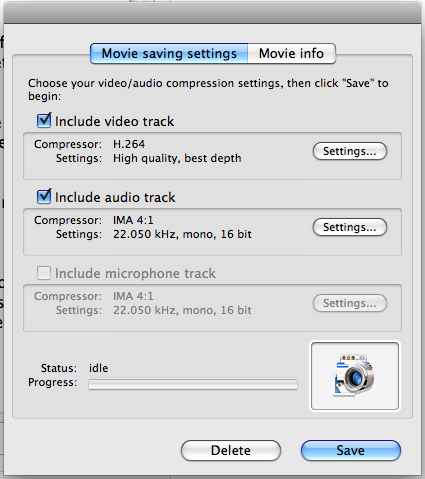 mac capture video encoding options