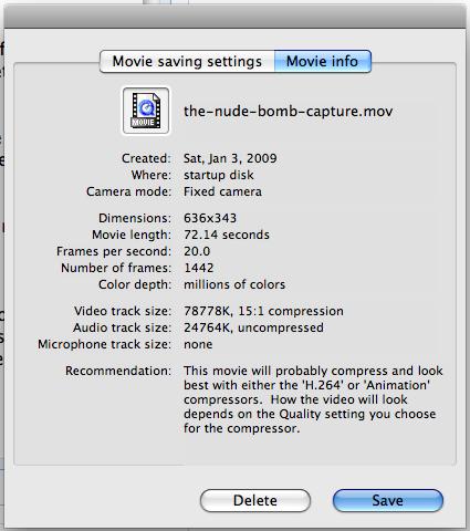 mac capture video movie info