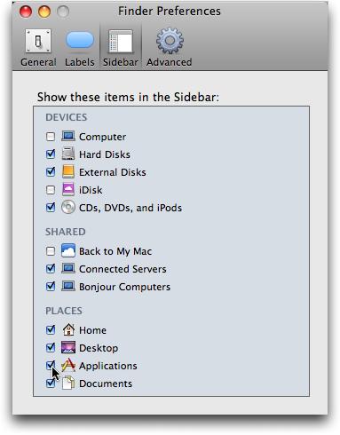 mac finder preferences sidebar applications