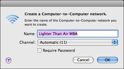 mac os x create wifi network name