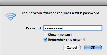 mac os x join wifi network password