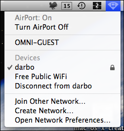 mac os x wifi network connected