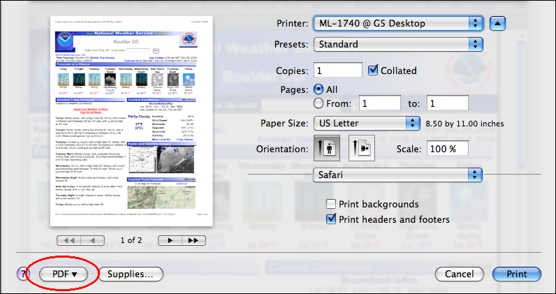 mac safari file print dialog