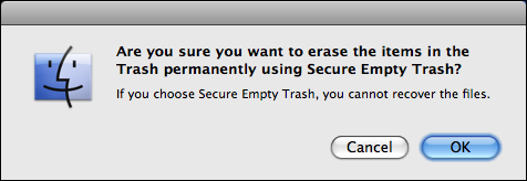 mac secure empty trash warning