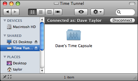 mac time tunnel connected