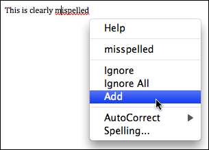 microsoft word add misspelling