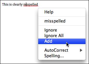 microsoft word add misspelling
