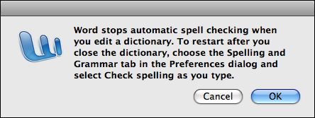 microsoft word mac custom dictionary edit warning