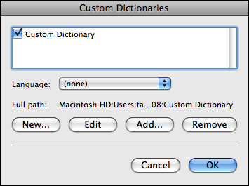 microsoft word mac custom dictionary list