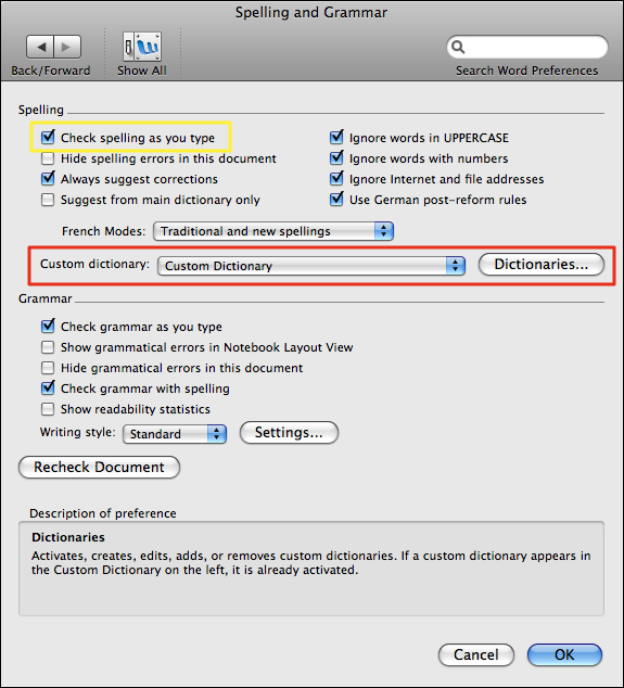 microsoft word mac preferences spelling grammar