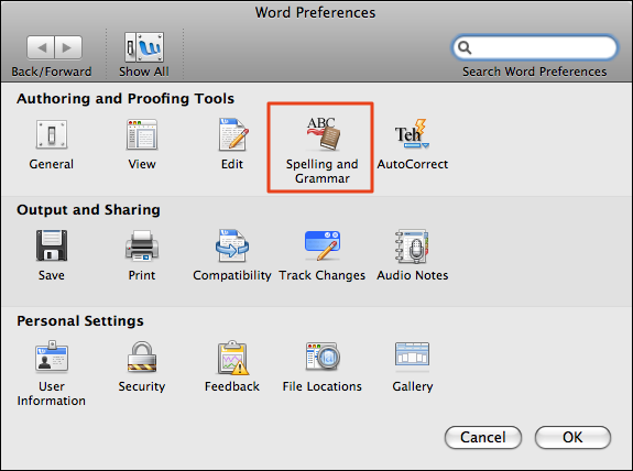 microsoft word mac preferences