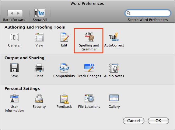 microsoft word mac preferences