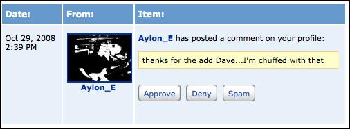 myspace approve comment text