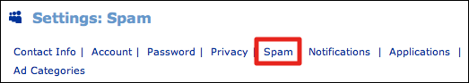 myspace settings spam