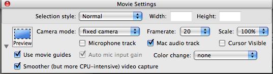 snapz pro x movie settings