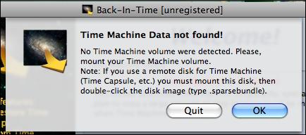 time machine data not found