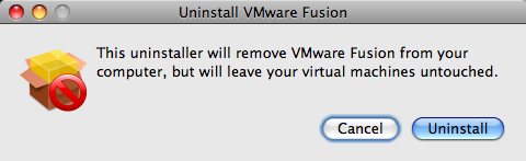 uninstall vmware fusion warning