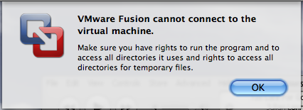vmware fusion cannot connect virtual machine