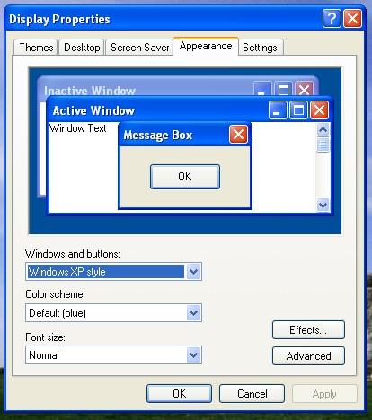 Windows XP / WinXP Display Properties: Appearance
