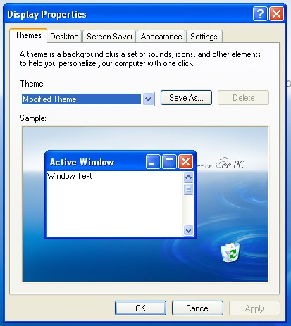 Windows XP / WinXP display properties: Themes