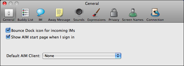 aim mac preferences general