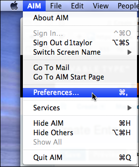 aim mac preferences menu