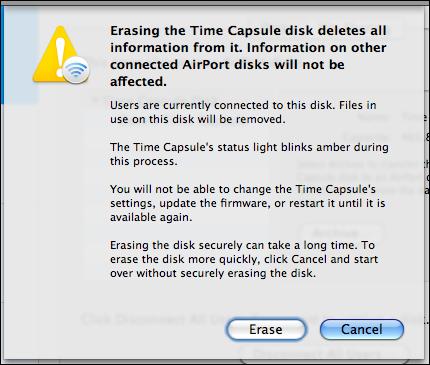 airport utility manual setup disks erase confirm
