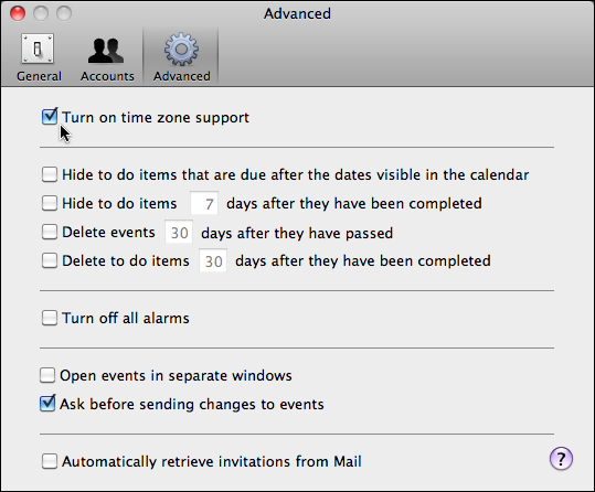 apple ical preferences advanced timezone