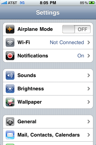 apple iphone 3g settings