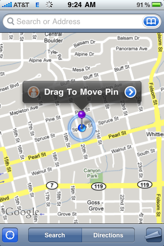apple iphone google map pin drop 81. Give it a second and it'll calculate a
