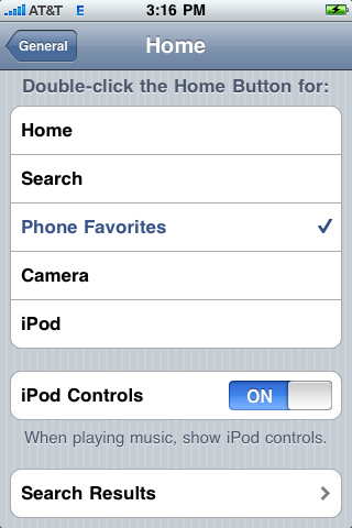 apple iphone settings home