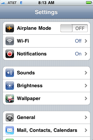 apple iphone settings screen