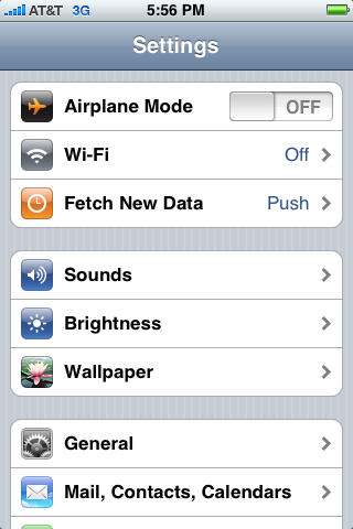 apple iphone settings