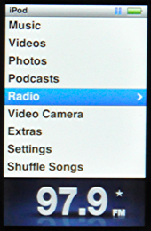 apple ipod nano 5g main menu radio